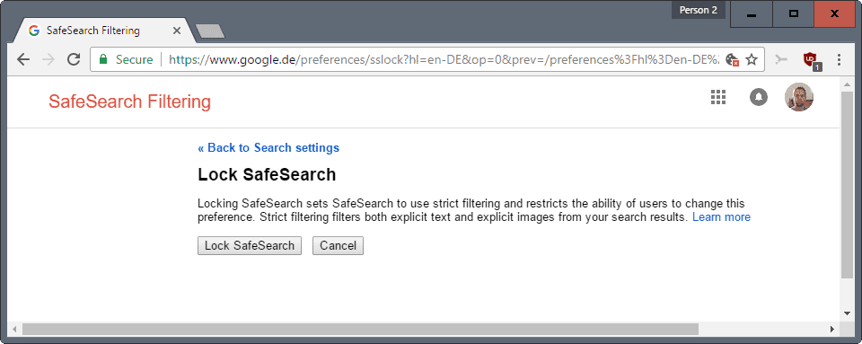 lock safesearch
