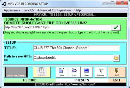 Internet Radio Recorder The MP3 VCR