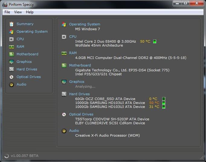 pc hardware system information