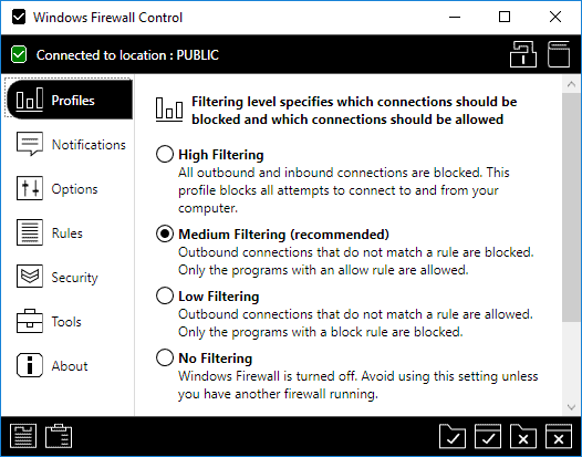 windows firewall control settings