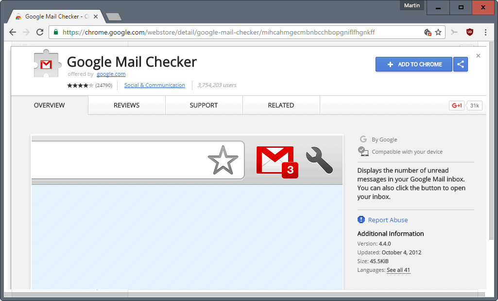 chrome add extension