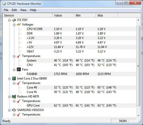 Computer Temperature Monitor HWMonitor