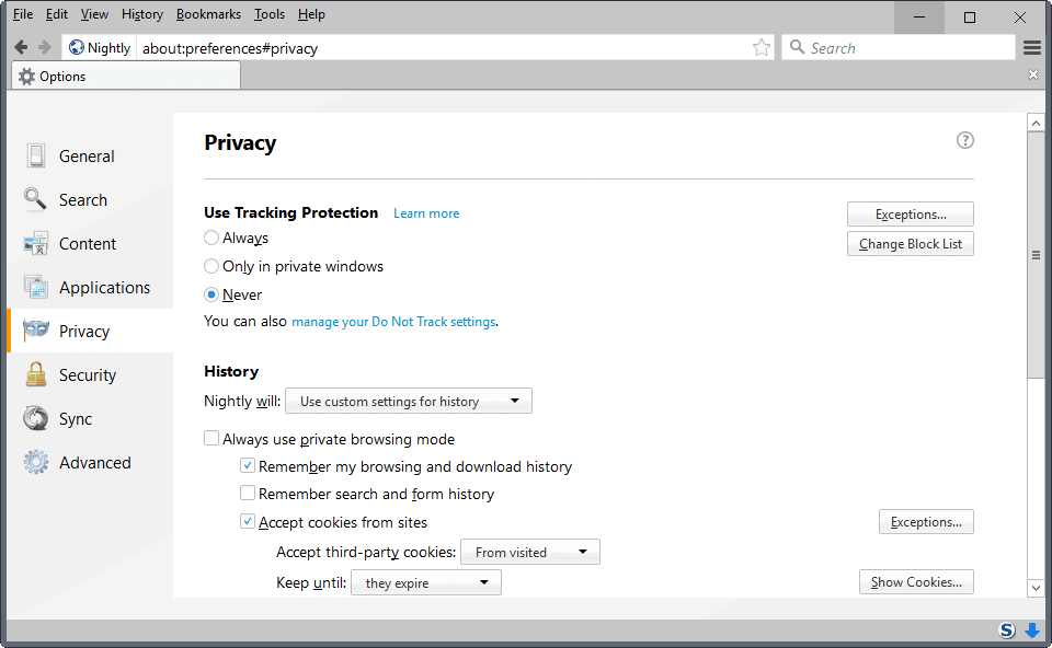 firefox always use private browsing