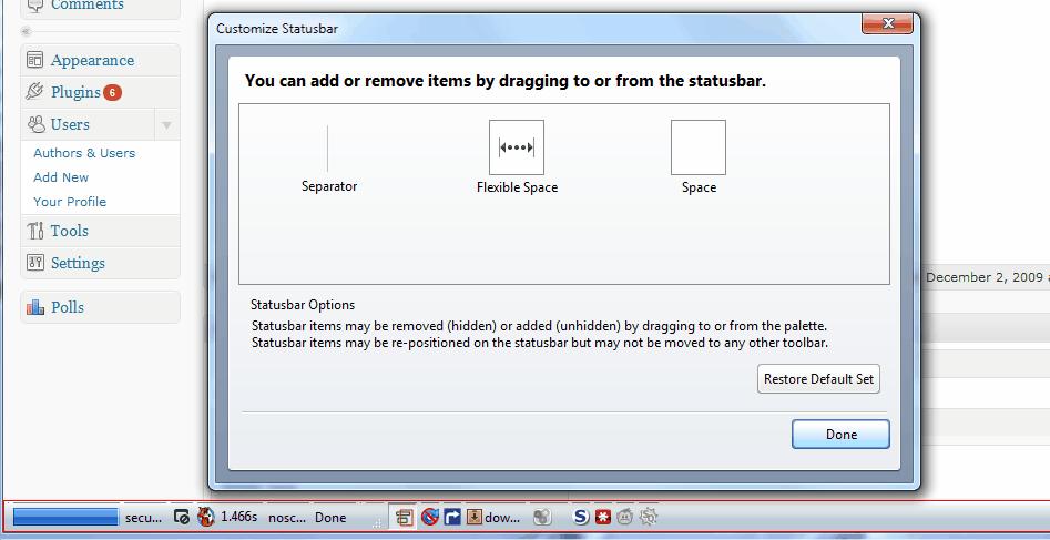 firefox customize statusbar