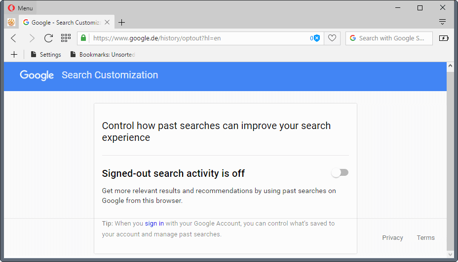 google search activity turn off