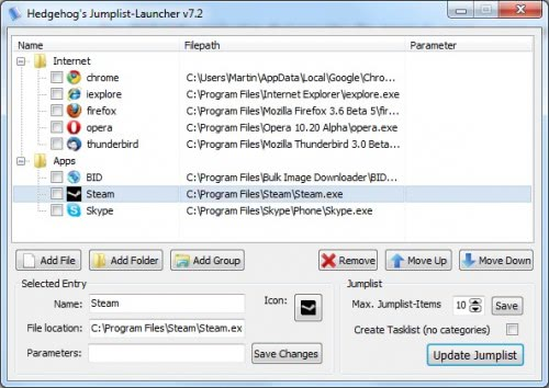 Create Windows 7 Jumplists With Jumplist Launcher