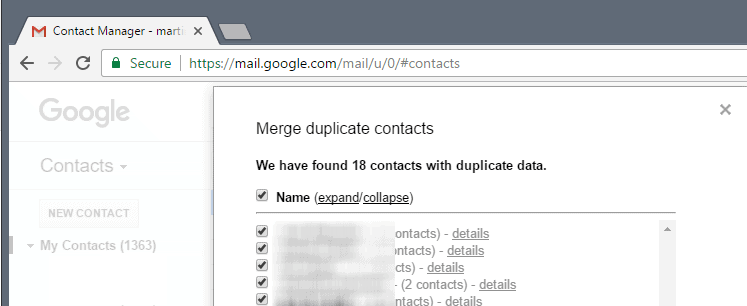 merge duplicate contacts gmail