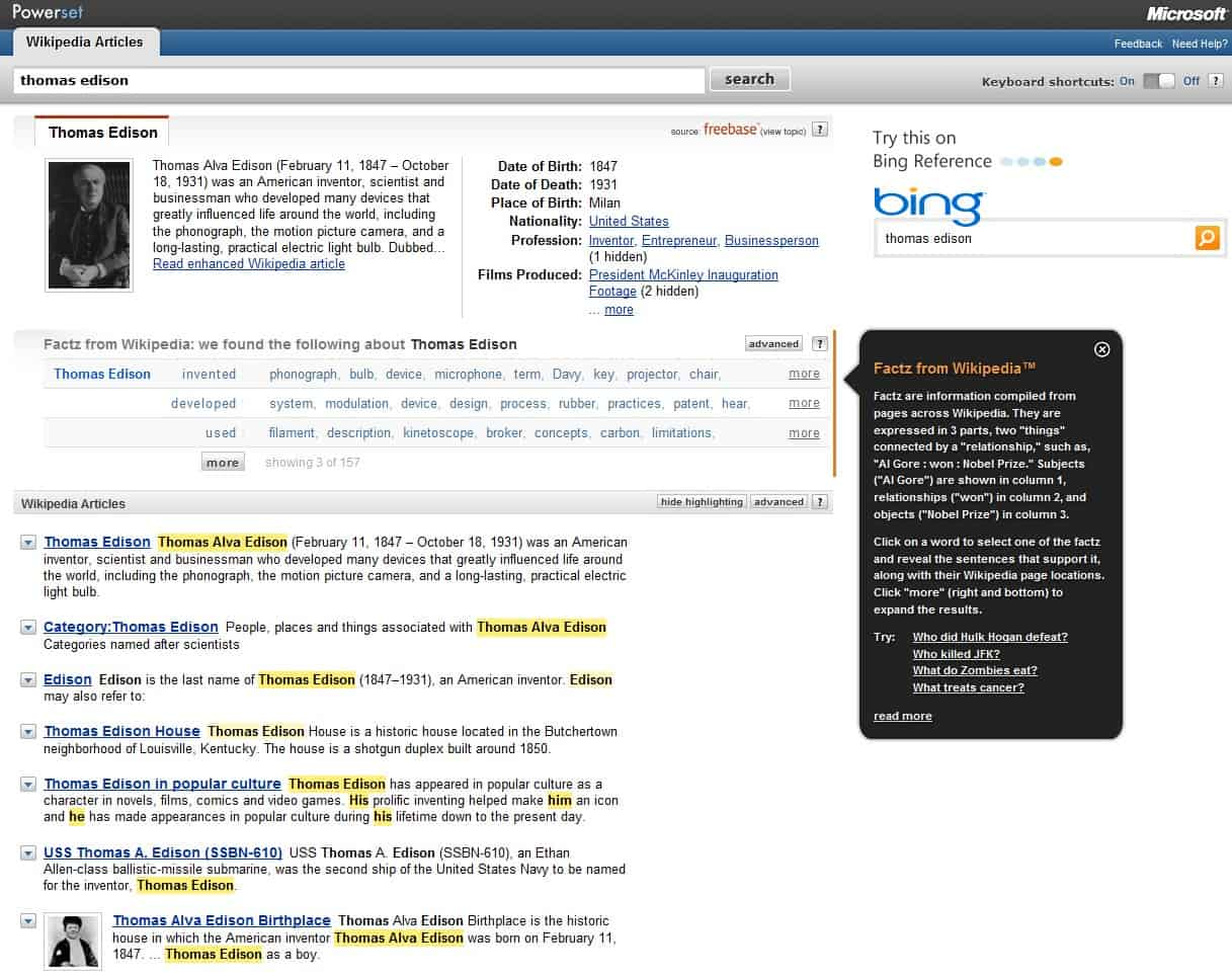 Microsoft Powerset Adds Semantic Search To Wikipedia