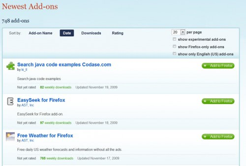 Mozilla Adds Language Filter On Add-on's Page