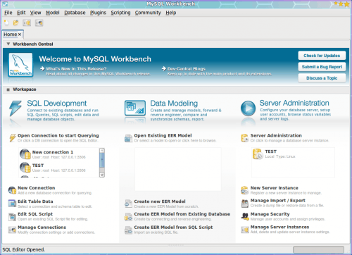 Complete database administration package MySQL Workbench