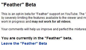 youtube feather beta