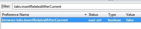 open tab behavior in Firefox