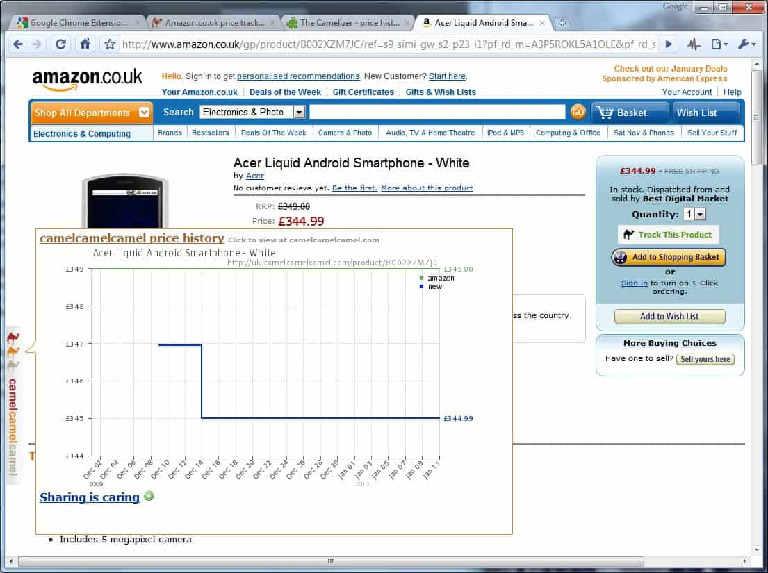 View Item Price History Of Amazon, Best Buy And NewEgg