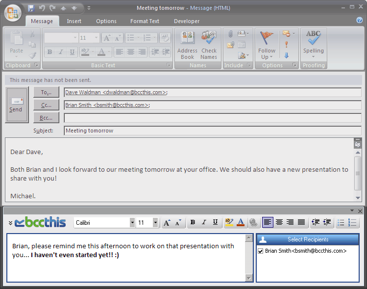 Personalize E-Mail Messages With BCC This