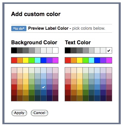 custom label colors