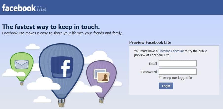 Facebook www lite login Facebook Lite