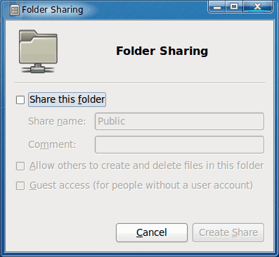 Easy folder sharing in GNOME