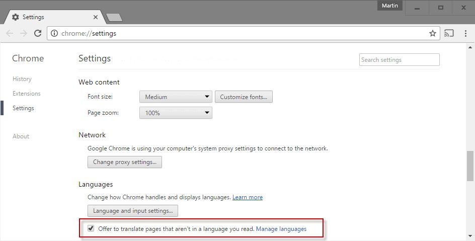 google chrome translate