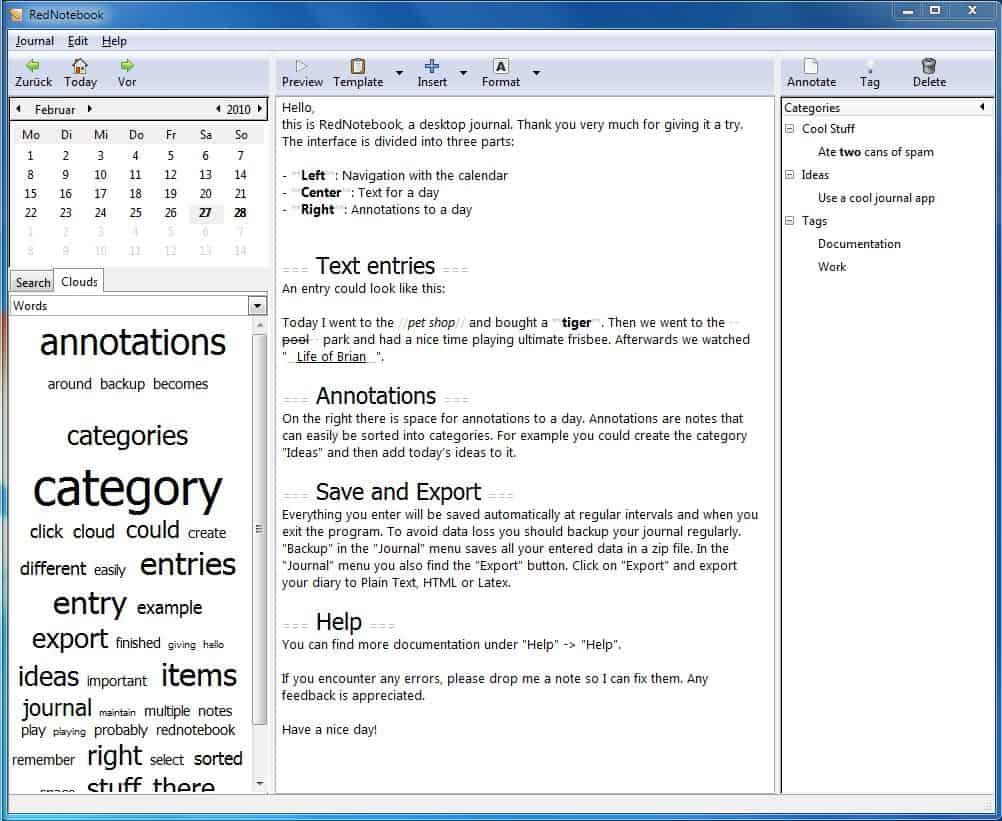 foto de Graphical Diary And Journal RedNotebook - gHacks Tech News