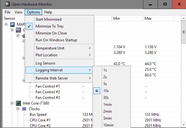 open hardware monitor settings