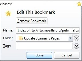 remove bookmarks in firefox