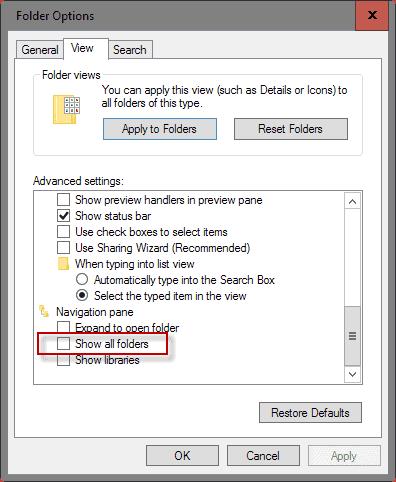 show all folders