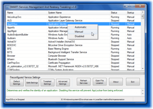 Windows Services Optimizer SMART