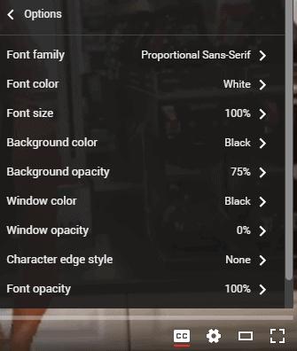 captions options