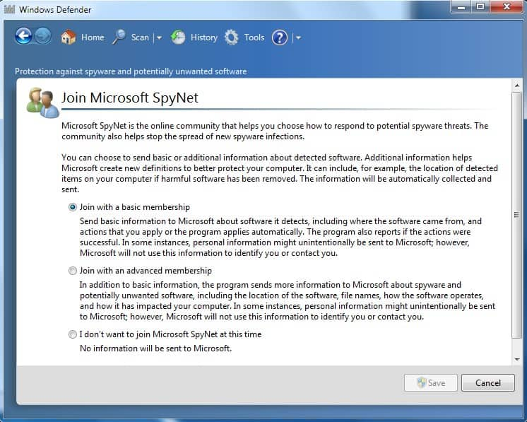 How to disable Microsoft SpyNet on Windows7