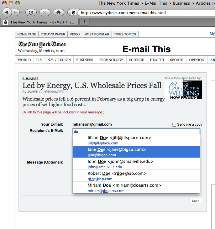 web form autocomplete