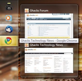 Windows 7 Taskbar Thumbnails Added To Google Chrome
