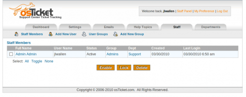 Post-install configurations for osTicket