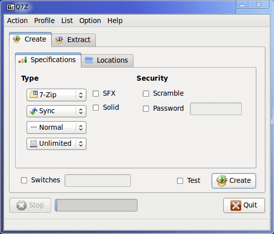 Q7z: Front end for Linux 7-Zip