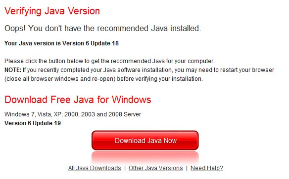 Java JRE 6 Update 19 Security Update