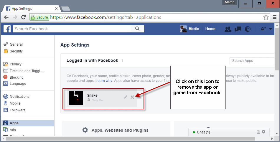 facebook uninstall apps