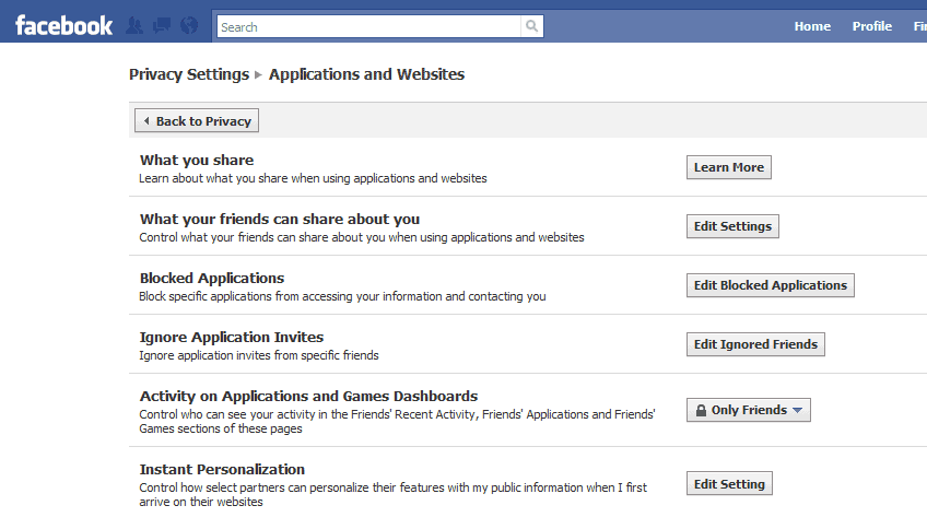facebook applications websites