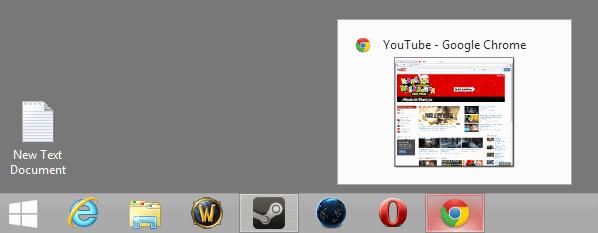 google chrome taskbar thumbnails