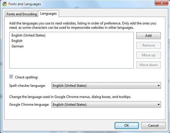 google chrome languages
