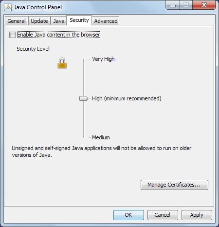 remove Java web browser