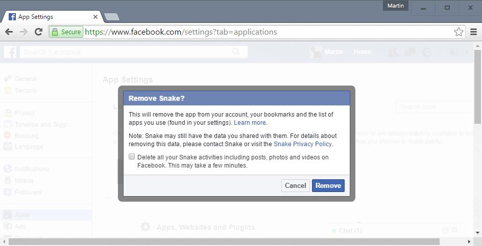 remove app facebook
