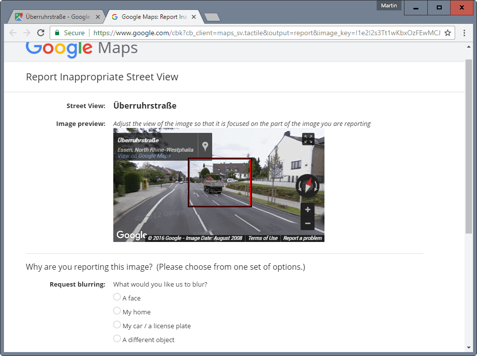 report street view issue google