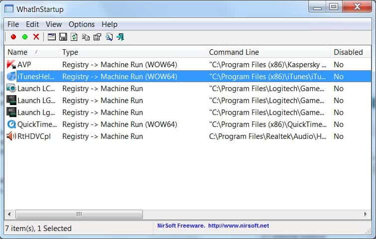startup registry windows 7