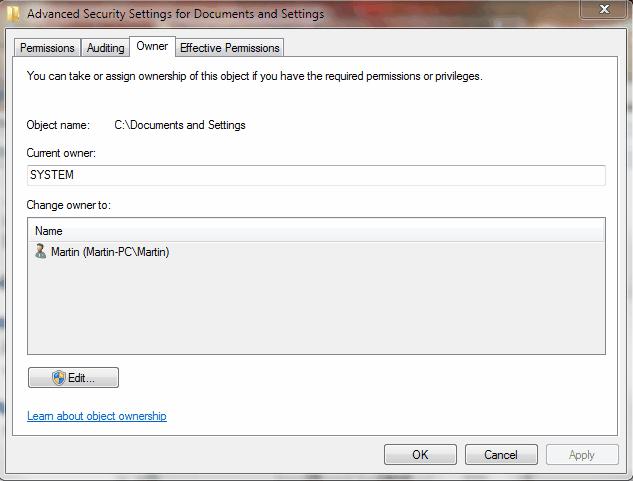 folder owner