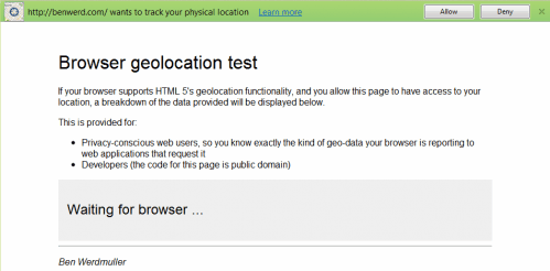 google chrome geolocation