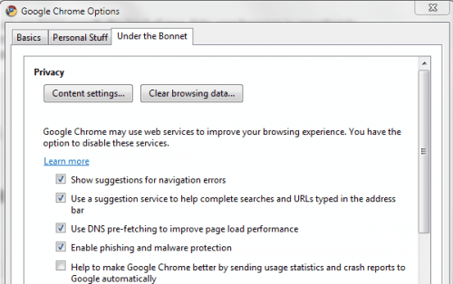 google chrome options
