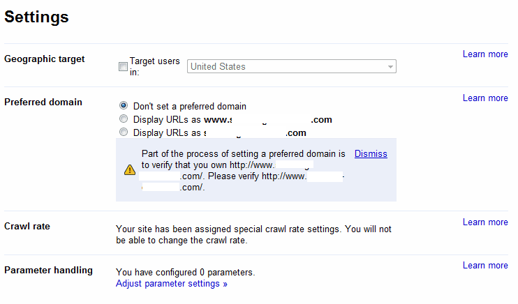 Setting Preferred Domain Fails In Google Webmaster Tools