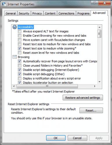 internet explorer troubleshooting