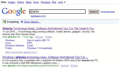 classic google search