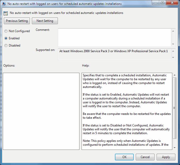 disable restart after windows update