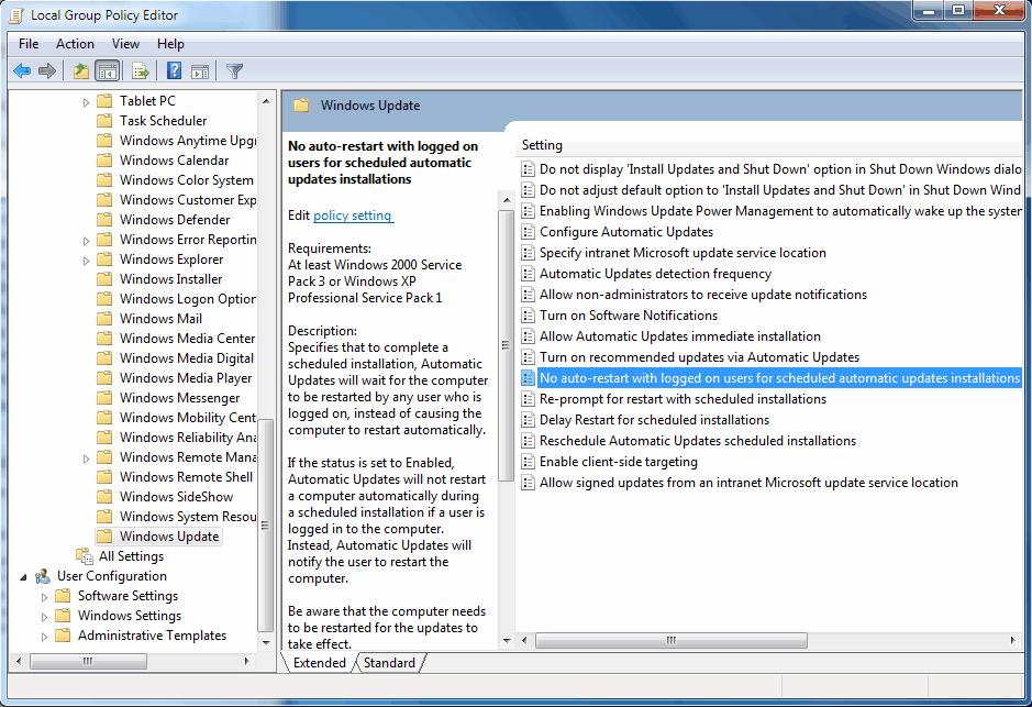 no auto-restart automatic updates